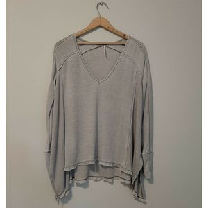 Free People Waffle Knit Long Sleeve Loose Shirt